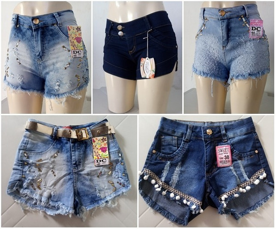 3 Lindos Shorts Jeans Cintura Alta Com Lycra 36 Ao 44