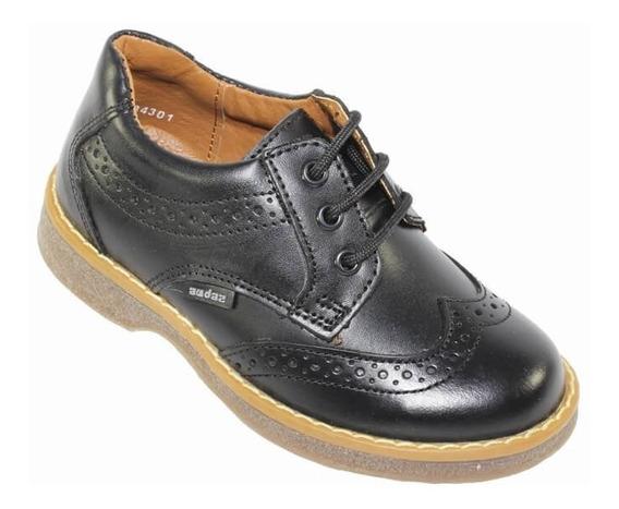 Zapatos Casuales Bostonianos Coqueta Niño Negro Piel 84301a