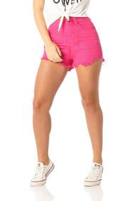 Shorts Feminino Setentinha Colorido Denim Zero-dz6215