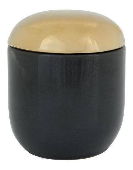 Cloche Caixa Decorativa 9 Cm X 10 Cm Preto/dourado
