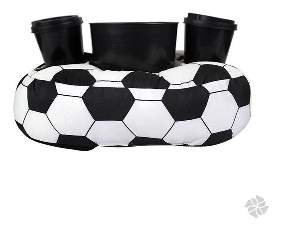 Almofada Porta Pipoca Bola Futebol 1 Balde + 2 Copos