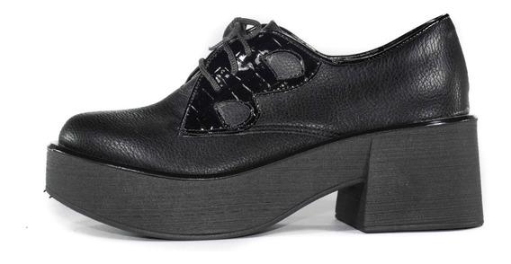 Creeper Zapatos Mocasín Acordonado Mujer Dama Cuero Eco