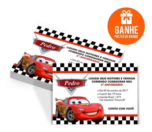 Imagem 1 de 5 de 60 Convites Aniversário Personalizados Carros Disney +brinde