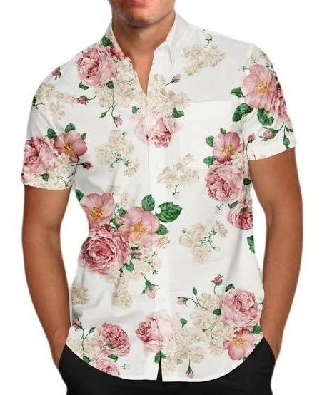 Kit 15 Camisa Social Masculina Floral Estampada Manga Curta