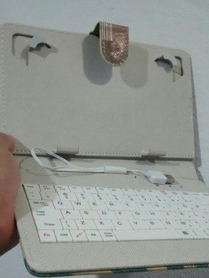 Mini Teclado Para Tablet 7 Polegada Cabo V8 Capa Couro Preta
