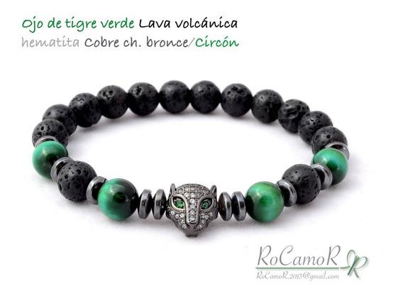 Pulsera #rocamor Jaguar. Circón, Ojo De Tigre Verde, Lava