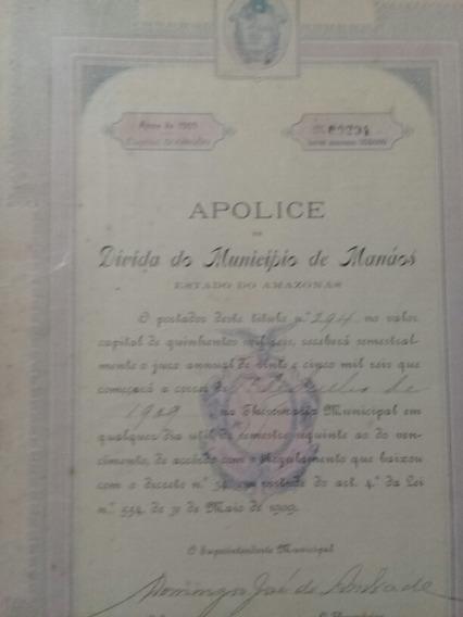 Apólice Da Dívida Do Município De Manaos 1909