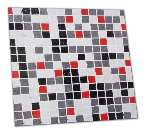 Venecitas X Plancha 33x33cm Mix Gris Con Rojo Ms