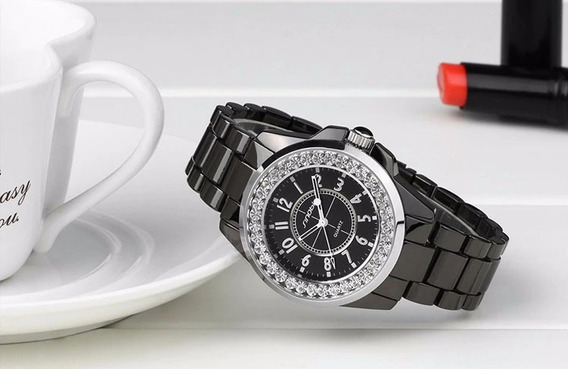 Relógio Feminino Sinobi 9390 Luxo Original Com Strass