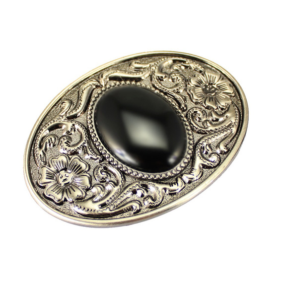 Fashionable Mens Agate Oval Belt Buckle Black