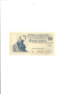 Argentina: Billete 5 Pesos Serie El Progreso Moneda Nacional