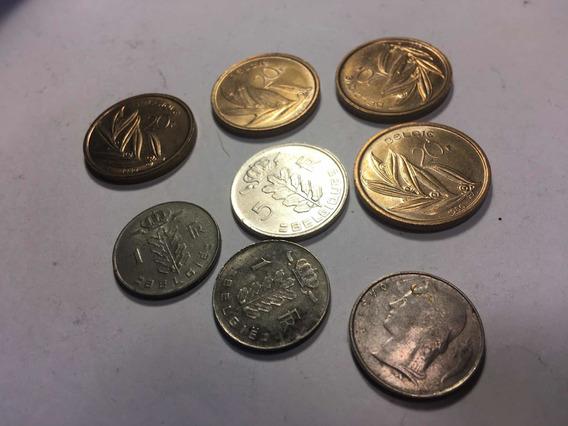 Monedas De Bélgica De 20 5 Y 1 Francs X 8 Unidades