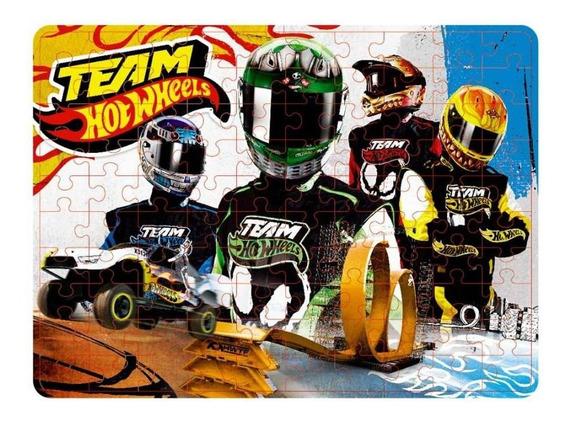 Quebra Cabeca Hot-wheels Time 4 Pilotos 100 Peças Y3097