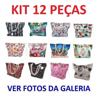 Kit 12 Bolsas De Praia Ombro Corda Estampas Variadas Atacado