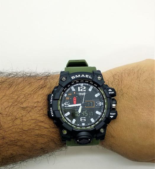 Relógio De Pulso Tático Militar Esportivo Shock Original Digital E Analógico A Prova D Água 1545 Promoção