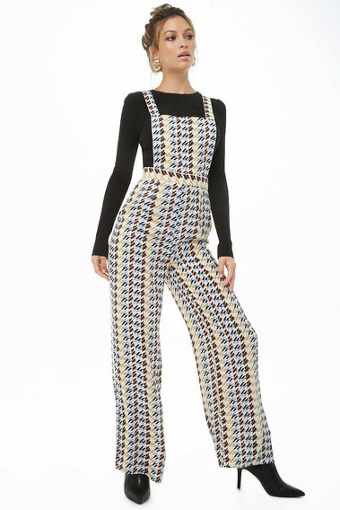 Forever 21 Jumpsuit Palazzo Overol Blanco Figuras Formal Xs