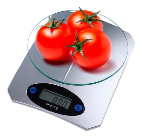 Imagen 1 de 10 de Bascula Digital De Cocina Base De Vidrio De 1 Gr A 5 Kilos