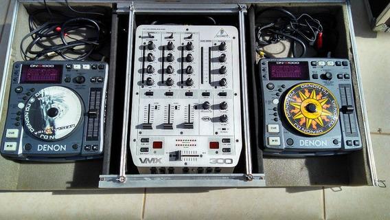 Par Cdj Denon Dns 1000 + Case + Mixer Behringer Vmx 300