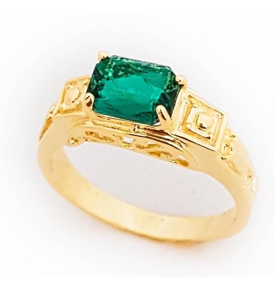 3 Anéis Masculino Verde Esmeralda Formatura Folheado Ouro.