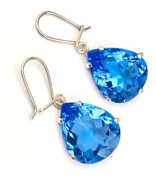 Promoção Brincos Quartzo Azul Multifacetado Em Prata 950k