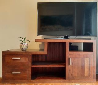 Rack Mueble Para Tv De Algarrobo - Excelente - Negociable