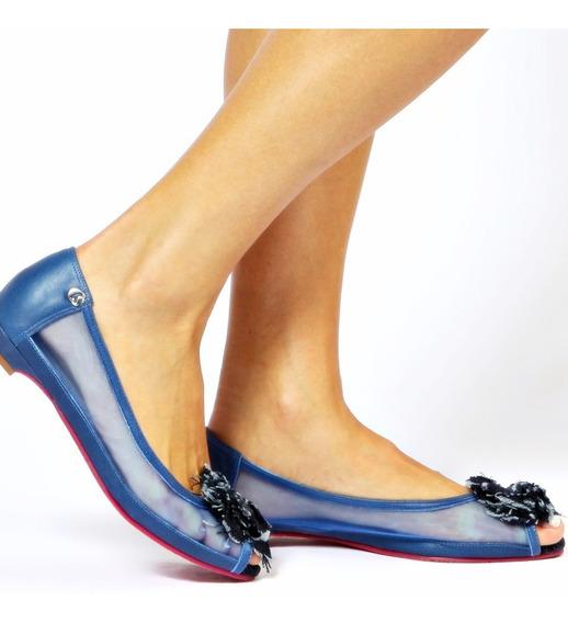 Sapatiha Feminina Carmen Steffans Bico Peep Toe Azul Nova