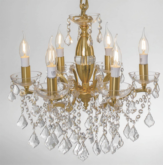 Lustre Tipo Candelabro Aurum Dourado 12 Lâmpadas G-light