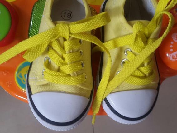 Zapatos D Bebe Tipo Converse Apolito Unisex Nro 19 Amarillo