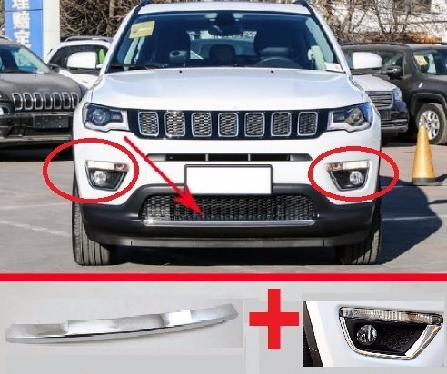 Combo Jeep Compass Friso Bumper + Milhas Cromado Parachoque