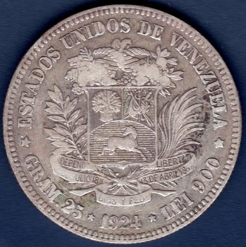 Moneda De 5 Bolívares De 1924 Fuerte De Plata