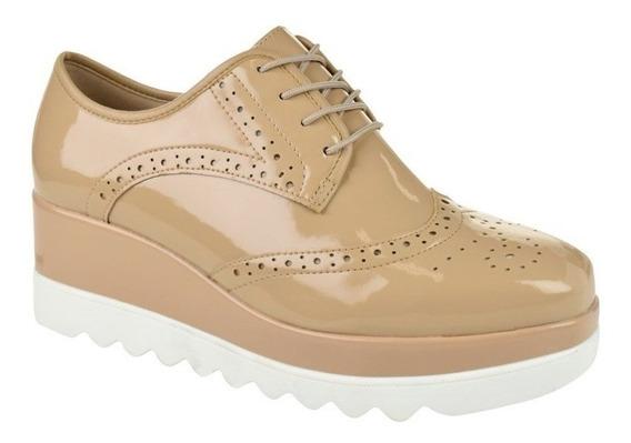 Sapato Oxford Brogue Feminino Metalizado Moleca
