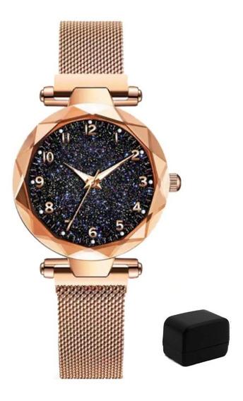 Relógio Feminino Céu Estrelado Pulseira Magnética Com Estojo