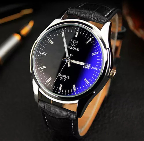 Relógio Masculino Prata Couro Preto Marca Yazole