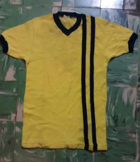 Antigua Camiseta De Pique - Amarilla Y Azul Años 70 Talle 38 Grande