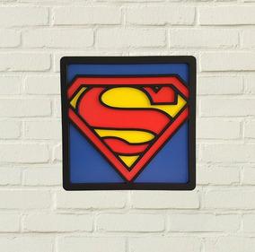 Quadro Super Herois Dc Superman 3d - Decoração Nerd