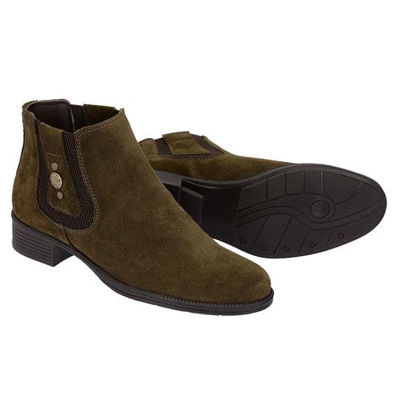 Bota Feminina Couro E Camuco Botas - Sapatos para Feminino