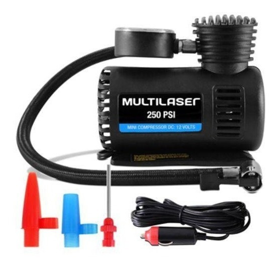 Compressor De Ar Mini 12v Automotivo 250psi Au601 Multilaser