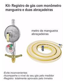 Registro Válvula Gás Bujão Manômetro Medidor Mais Mangueira