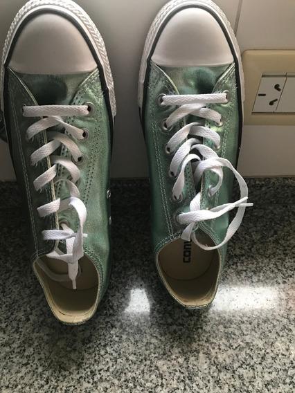 Hermosas Zapatillas Converse All Star Verde Metalizado