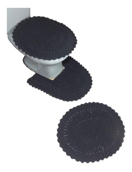 Conjunto De Tapetes De Banheiro Em Crochê Artesanal Colorido