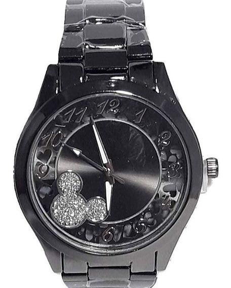 Relógio Feminino Minnie Mickey Disney Grafite Cromo