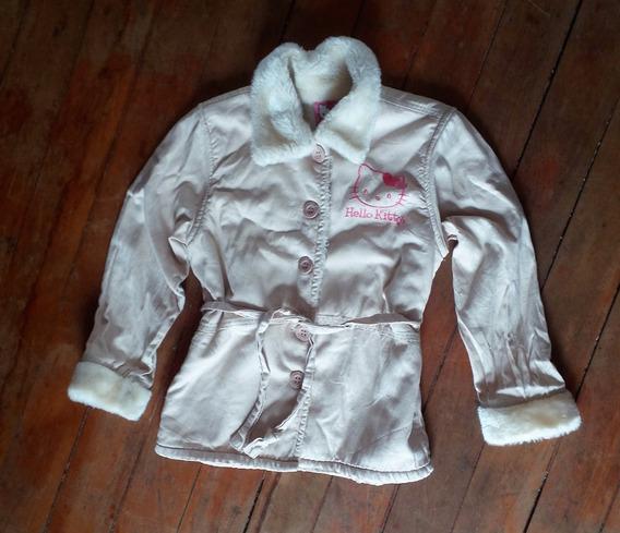 Casaco Infantil Da Hello Kit, Creme, Forrado Com Lã, Tam 10