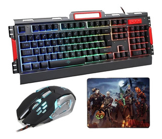 Kit Gamer Teclado + Mouse + Pad Mouse, Luces Led