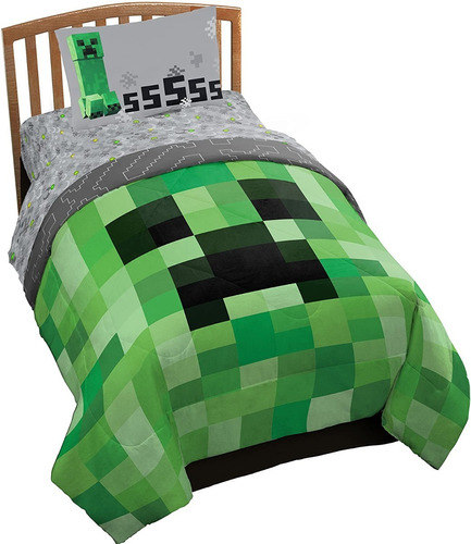 Juego De Sabanas Minecraft Creeper Para Niños 100x190 Cms