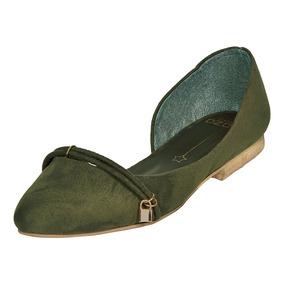 Calzado Dama Mujer Zapato Flat Capa Ozono Tipo Gamuza Verde