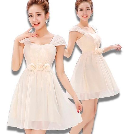 Vestidos Formales Mini Juvenil Con Flores Modernos Hombros
