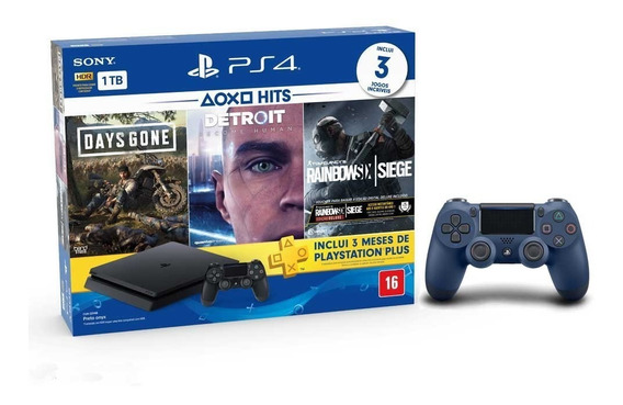 Console Playstation 4 Slim 1tb Hits Bundle + 2 Controles-ps4