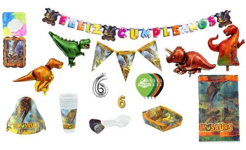 Imagen 1 de 2 de Kit Decoración Fiesta Infantil Dinosaurios 24 Personas