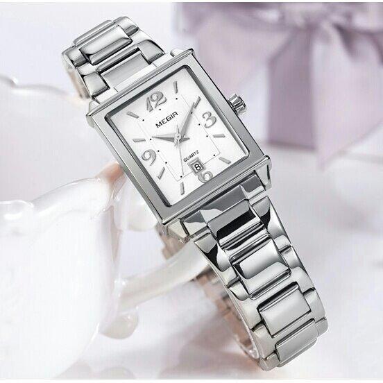 Relógio Megir 1079 Feminino Luxo Pulseira Aço Prata/ouro
