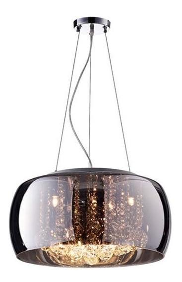 Lustre Pendente Cristal E Vidro Cromado 40cm Lançamento